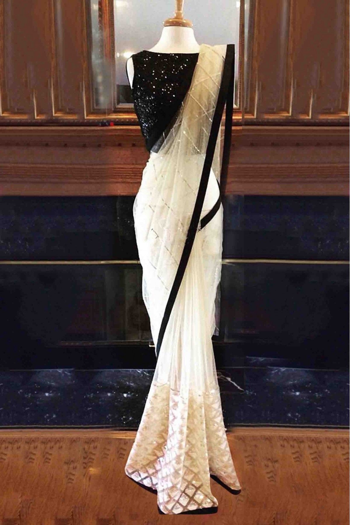 aefcfd1cd8 Buy Nylon Mono Net Saree In White And Black Colour for women @  ninecolours.com. Worldwide Free Shipping Available!
