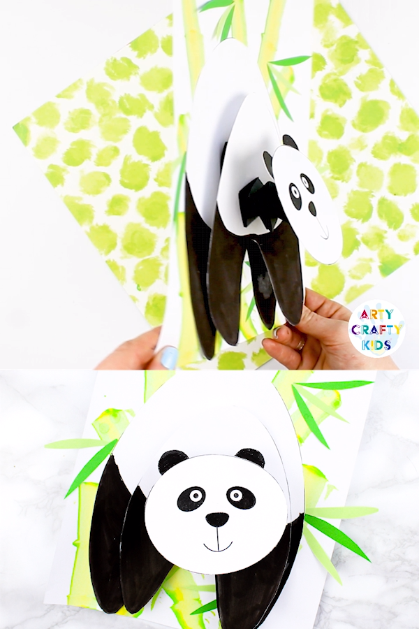 Fun, engaging and super cute Paper Panda Craft for Kids to make! it's bobble head and 3D features lets this panda POP from the page. The craft idea comes with a printable template that can be used at home or within the classroom - perfect for animal topic and exploring habitats.  The craft also includes an art tutorial for creating bamboo, using an easy art technique that kids will love!