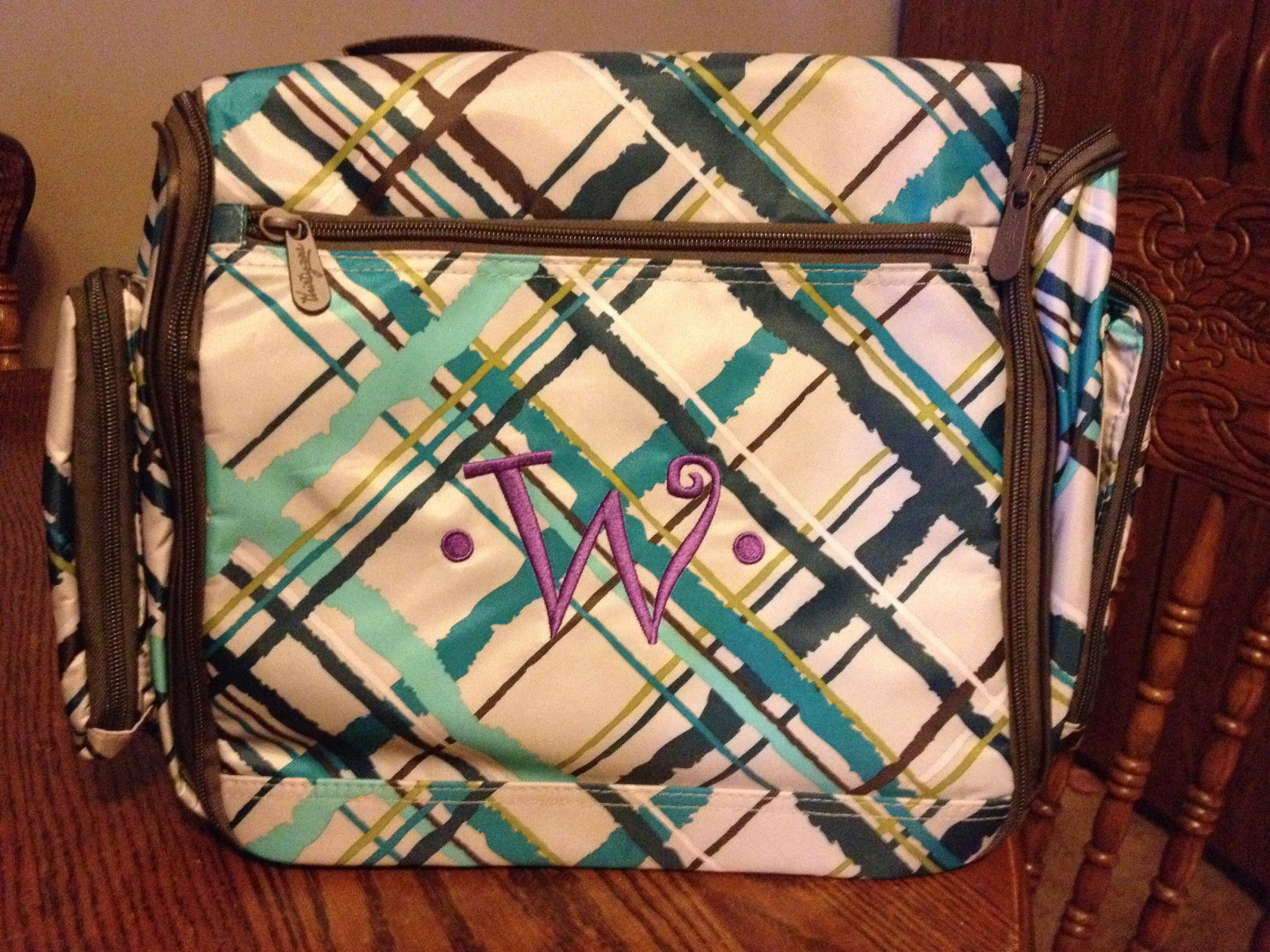 Sea Plaid Deluxe Beauty Bag with Purple Thread