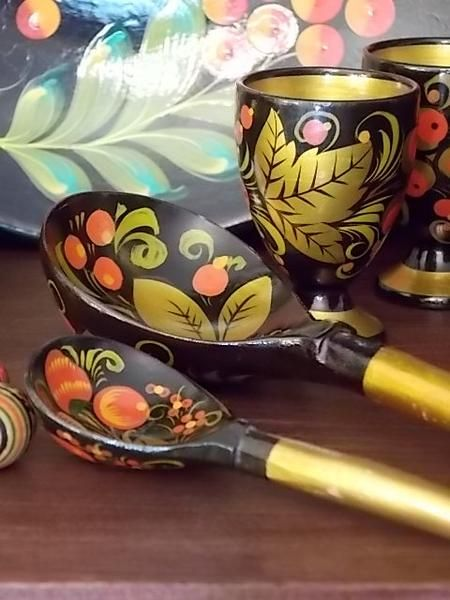 Vintage Russian Set of Folk Style Wooden Folk Bowl and Two Hand Painted Wooden Spoon