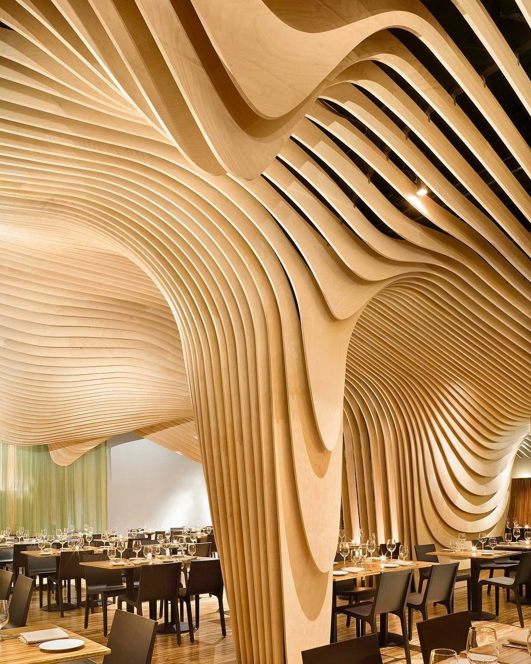 in a boston restaurant, @nadaaainc designed a canopy of fluid-like