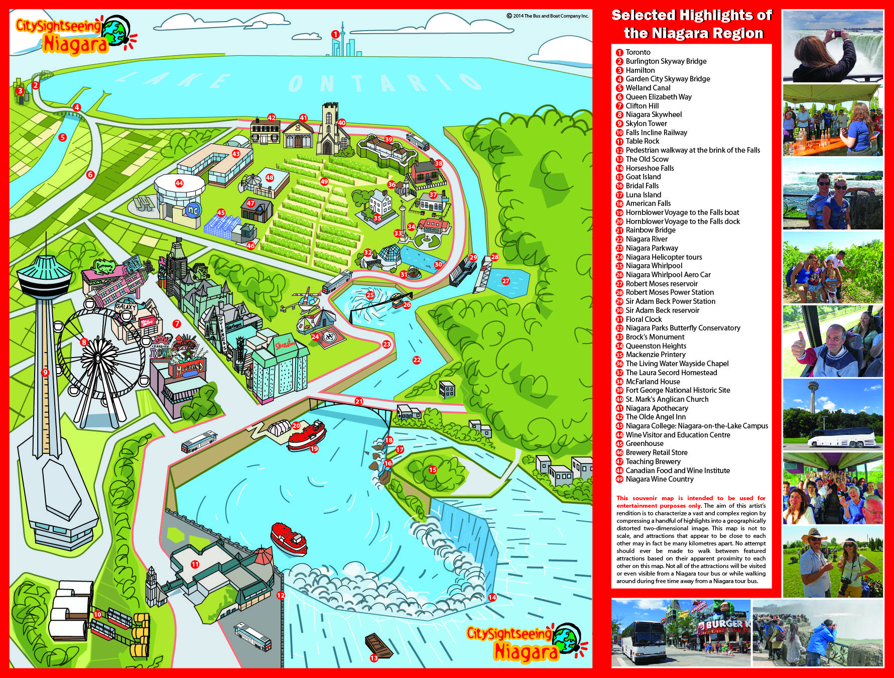 Niagara Falls Day Tour Map City Sightseeing Toronto