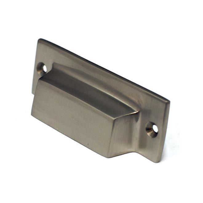 This Satin Nickel Finish Antique Cabinet/drawer Cup Pull With Rectangle  Mission Design Is Part