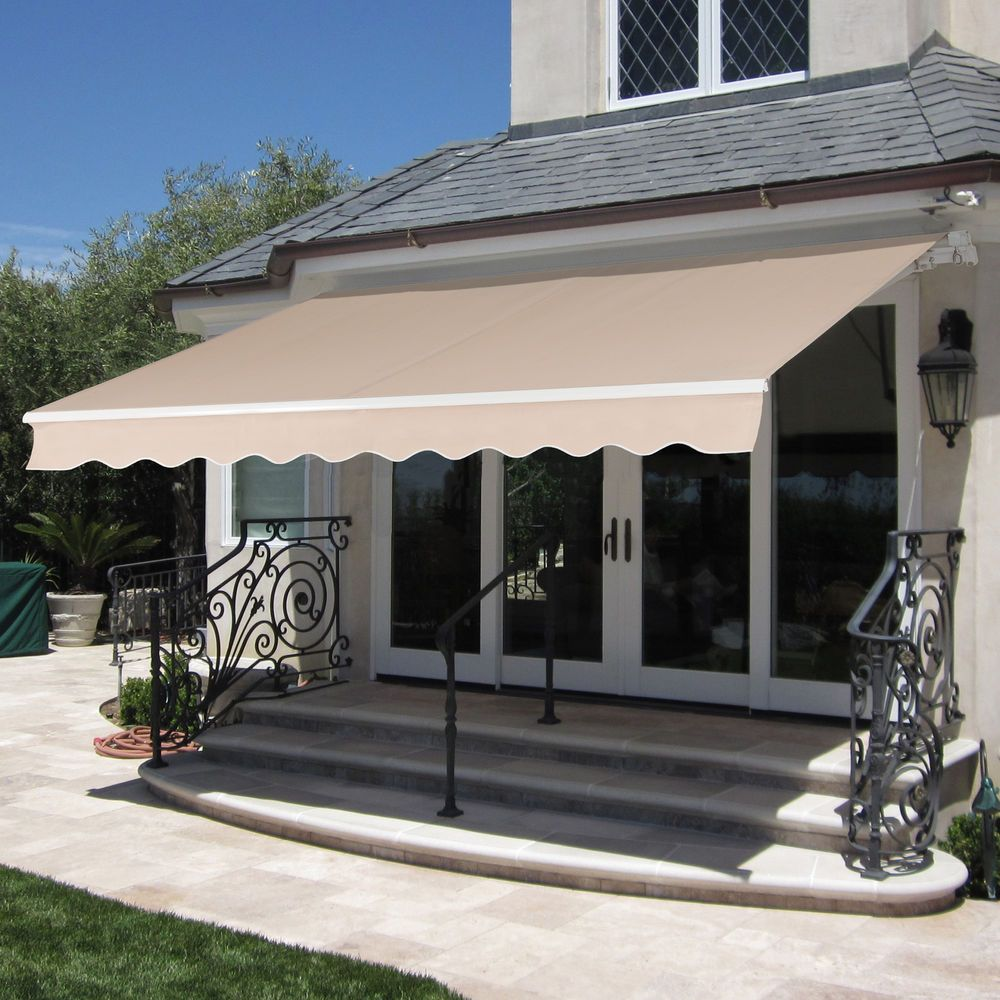 Retractable Patio Awning Large Water Resistant Cover Metal Frame Shelter Canopy