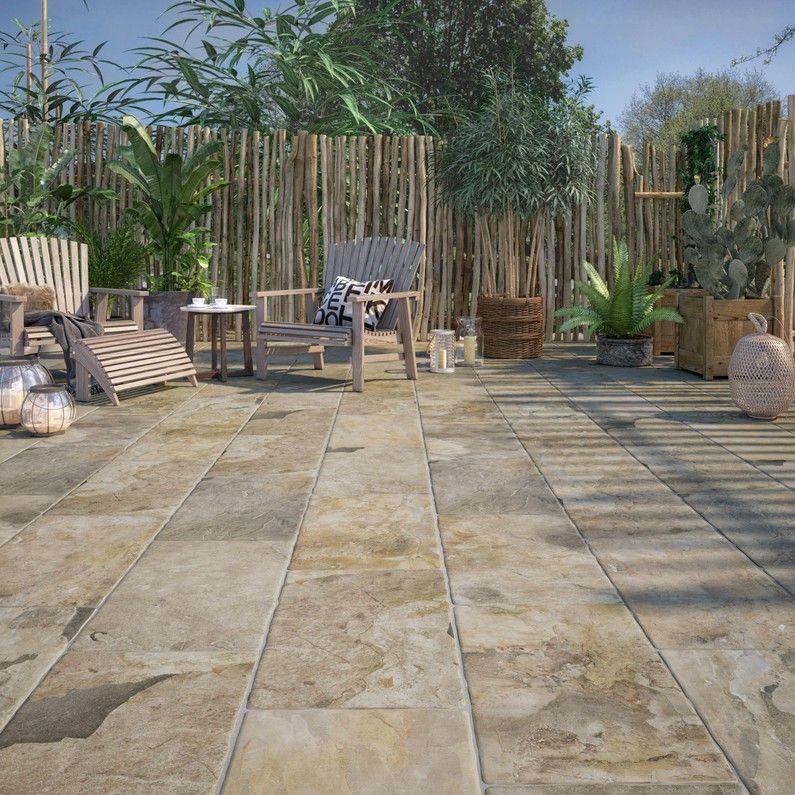 Carrelage Sol Et Mur Forte Pierre Dore Monastere L 30 X L 50 Cm Leroy Merlin Carrelage Sol Sol Exterieur Decoration Exterieur