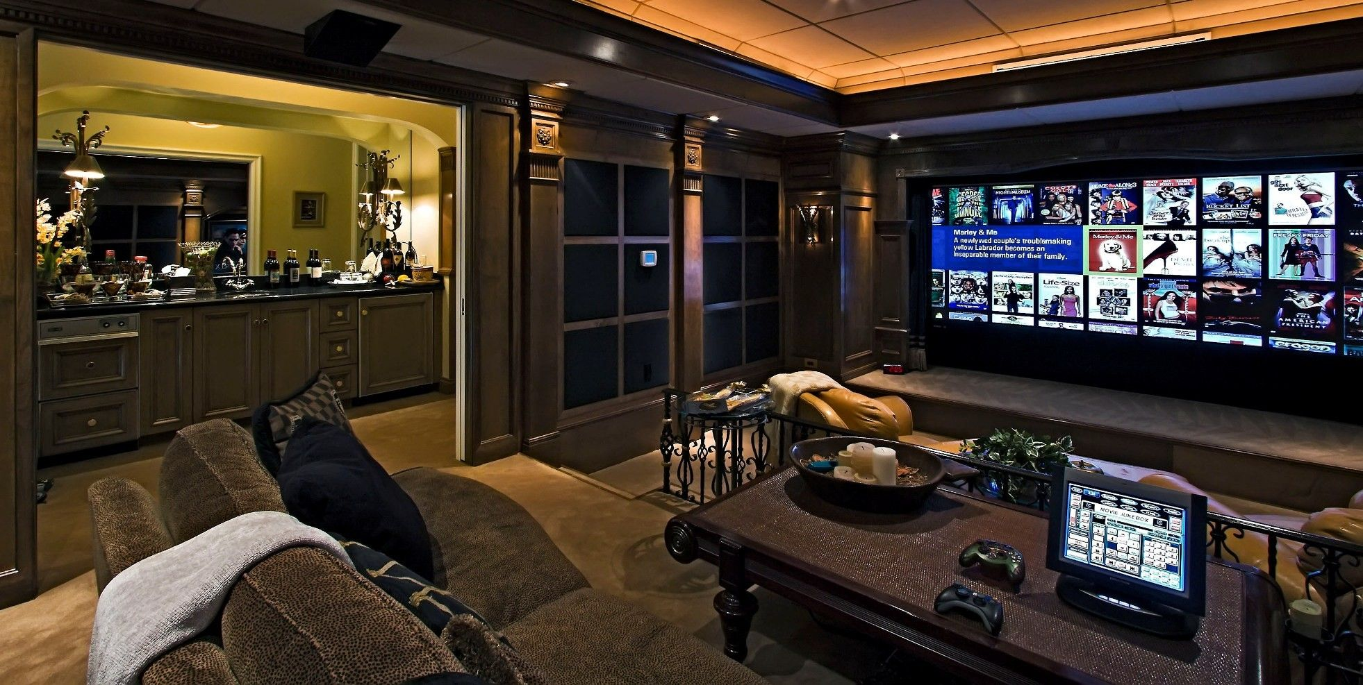 Marvellous Design For Home Theatre Setup Ideas With Dark Brown ...