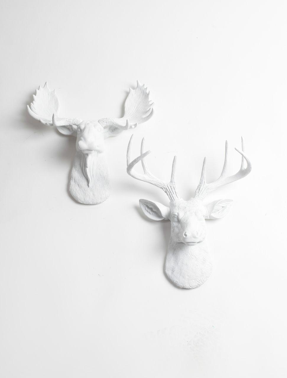 White Faux Taxidermy Mini Moose
