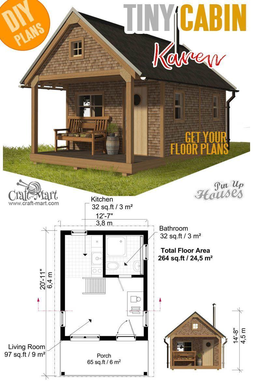 Kleine Und Winzige Hausplane Mit Baukosten Grundlegende Kabinenplane Karen Baukosten Craftmart Hausplane Small Bungalow Tiny Cabin Plans Tiny House Plans