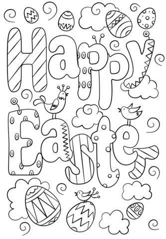Happy Easter Doodle Coloring Page Easter Coloring Pages Printable Free Easter Coloring Pages Easter Coloring Pictures