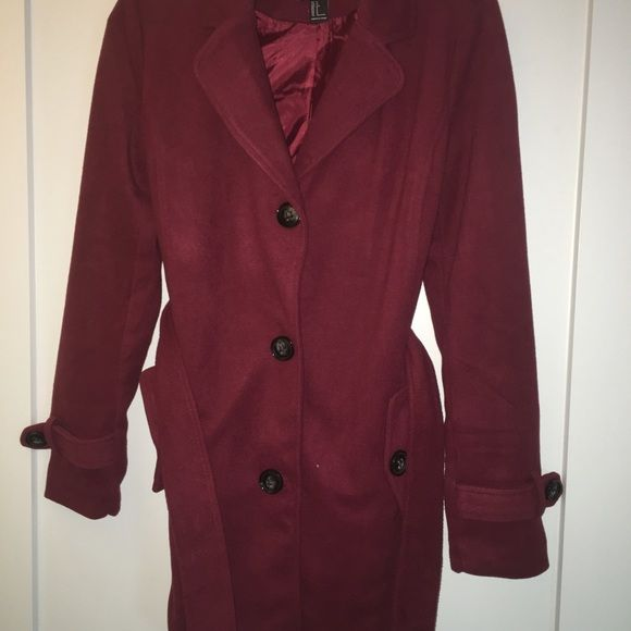 Fleece Maroon Trench Coat Fleece material. Very warm. Detachable hood (not pictured). Never worn, perfect condition! Forever 21 Jackets & Coats Trench Coats