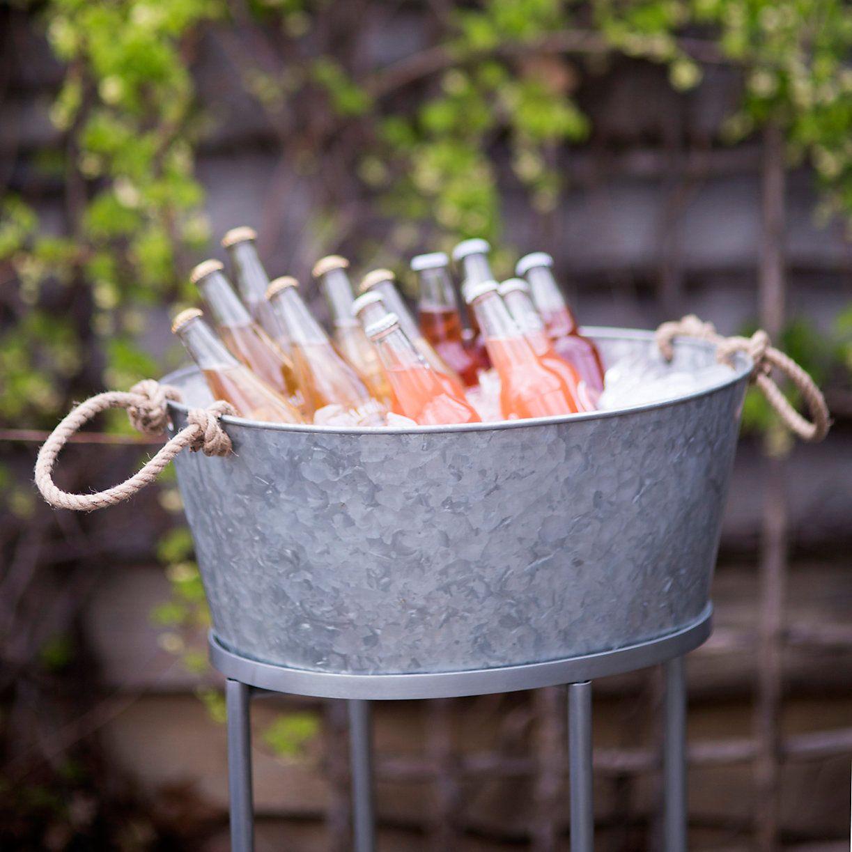 Zinc Beverage Bucket Stand Drink Bucket Party Beverage Tub Beverage Tub