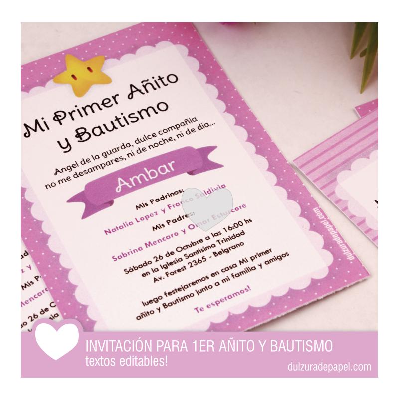 Estrellita Nena Invitacion Para Primer Añito Y Bautismo Para