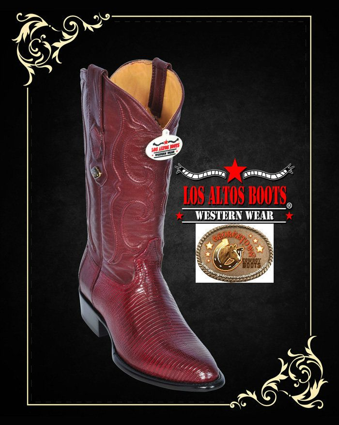 9966287aa12 Lizard Mens Western Boots Burgundy Medium Round Toe, D Width by Los ...