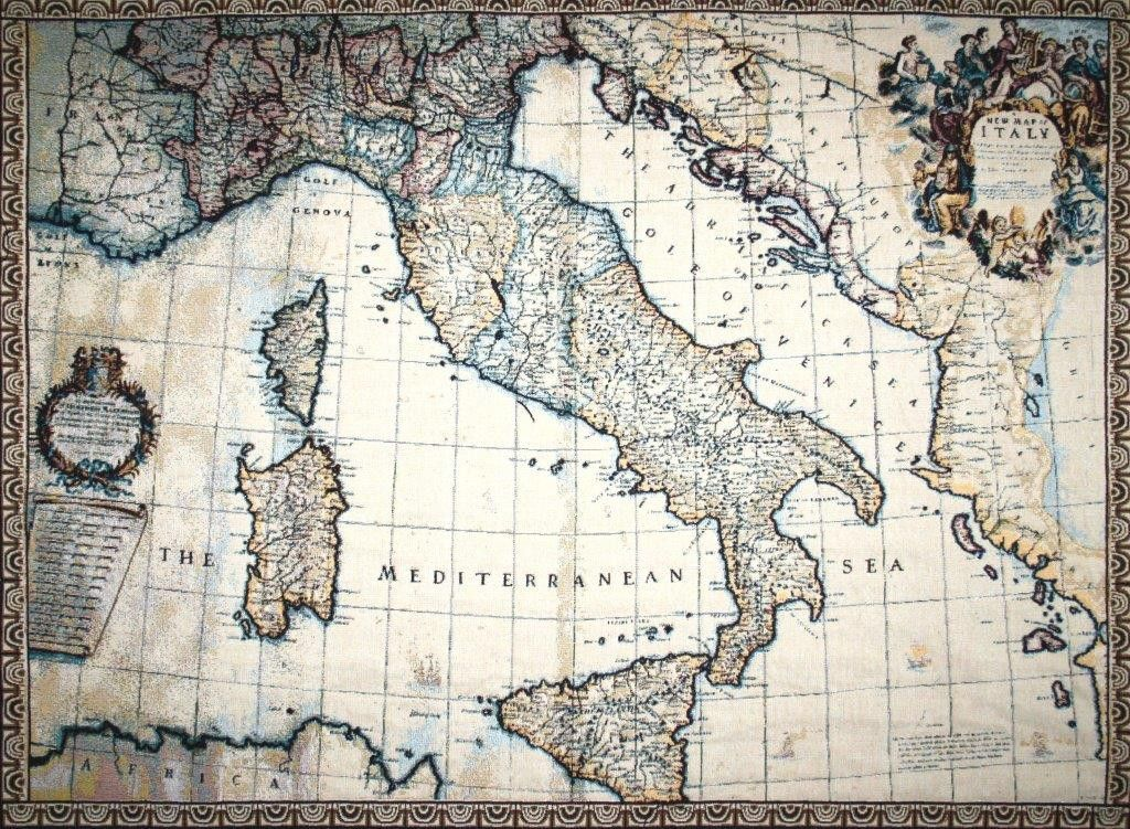 Ancient map of italy tapestry wall hanging italia sempre woven in italy history ancient map of italy is an italian jacquard wall tapestry it displays an old world map of italy with fine detail and subtle gumiabroncs Choice Image