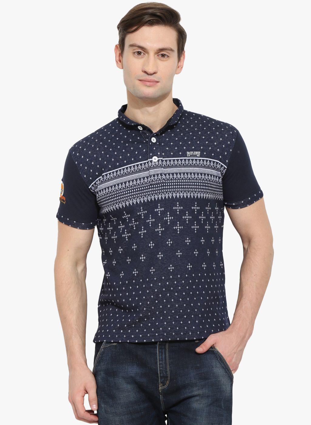 Navy Blue Printed Polo T Shirt Mens Fashion Pinterest Polo
