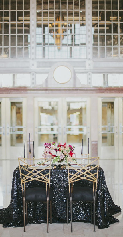 Black sequin linens. THIS IS WHERE MY WEDDING WAS ...