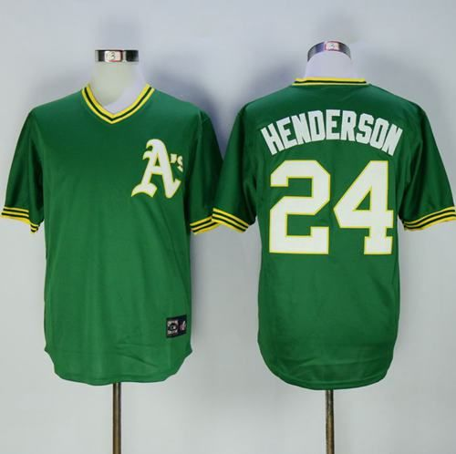 Men's Oakland Athletics #24 Rickey Henderson Green Pullover Throwback Cooperstown Collection Stitched MLB Mitchell & Ness Jersey