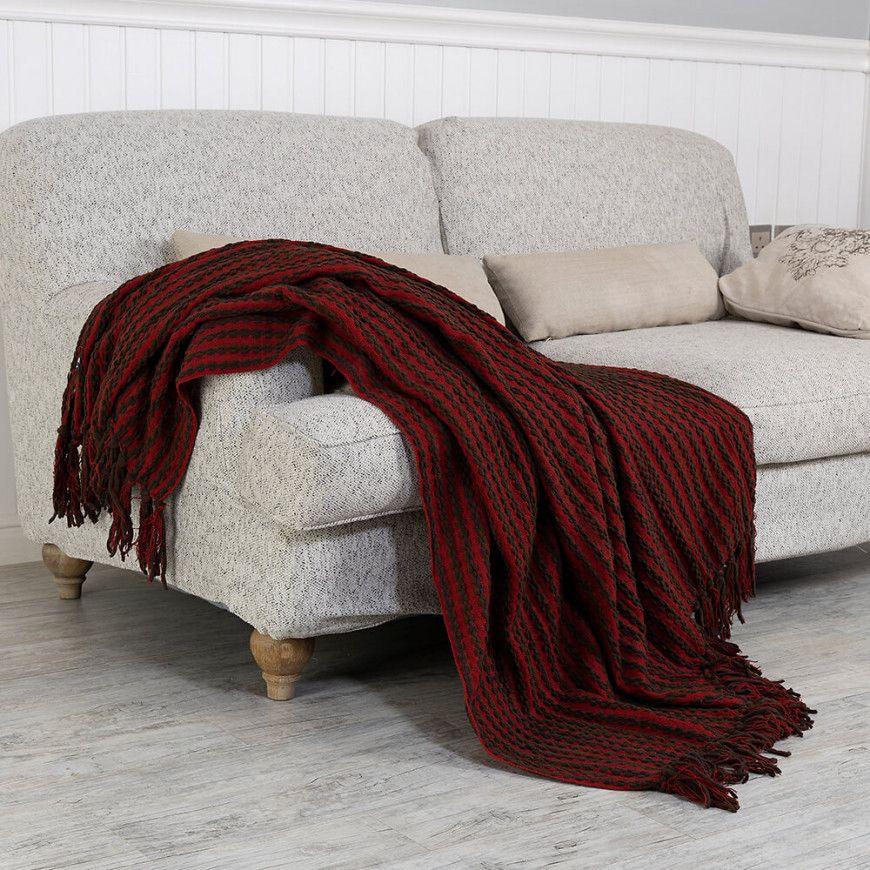 شال كنب لون عنابي و أسود Throw Blanket Blanket Sofa