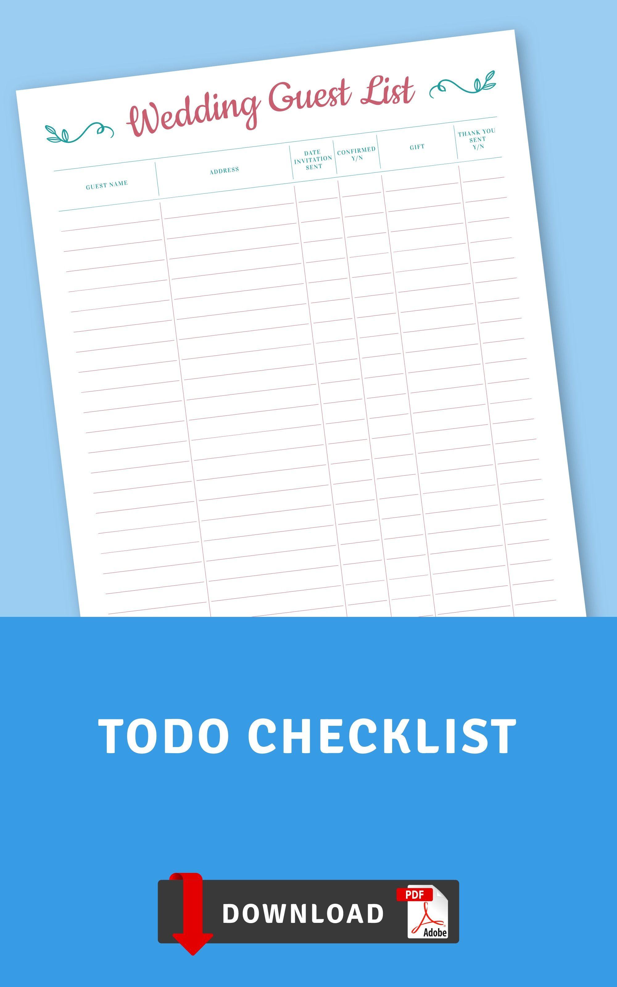 Wedding To Do List Template Wedding Checklist Wedding Etsy Wedding To Do List List Template Wedding Checklist