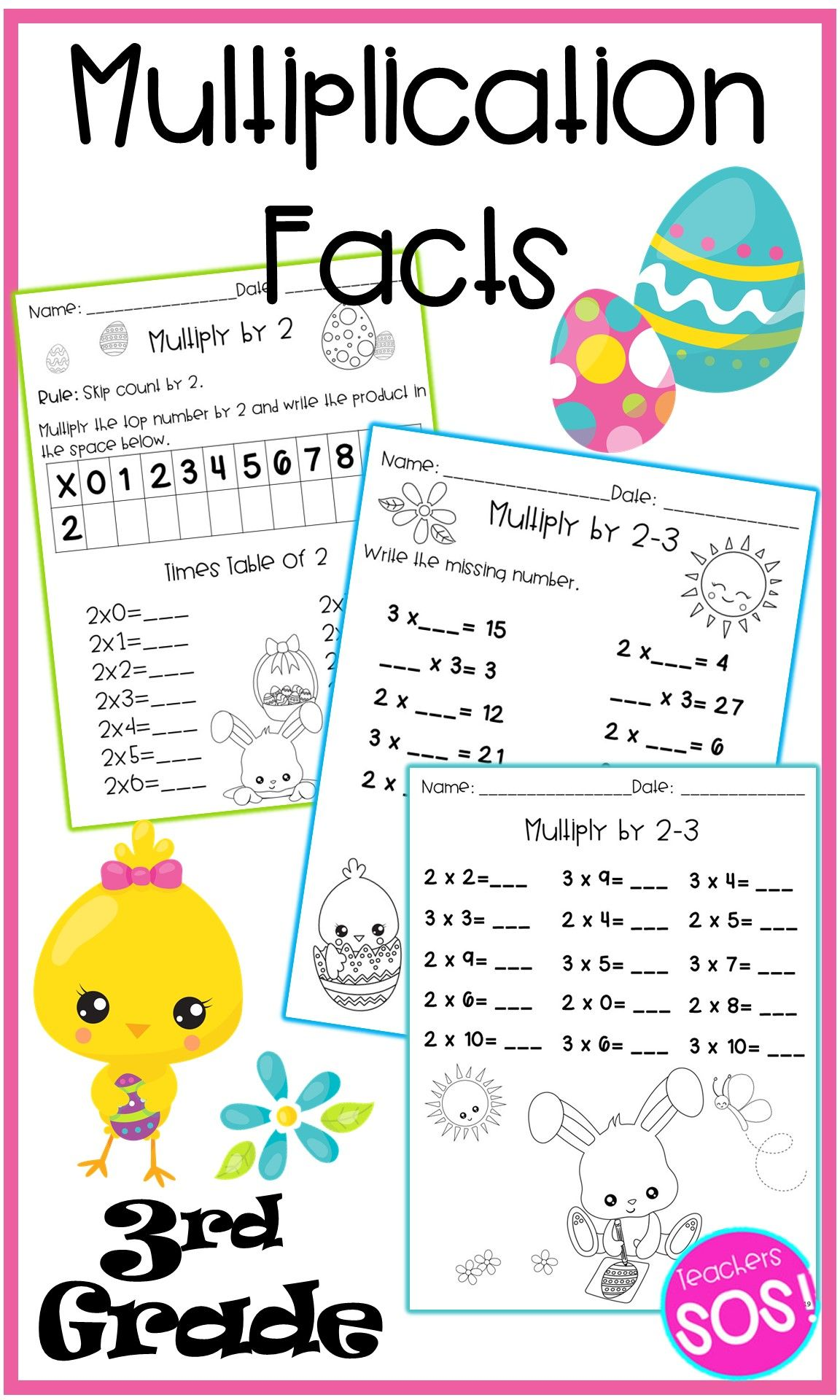 April Multiplication Facts Fluency No Prep Worksheets