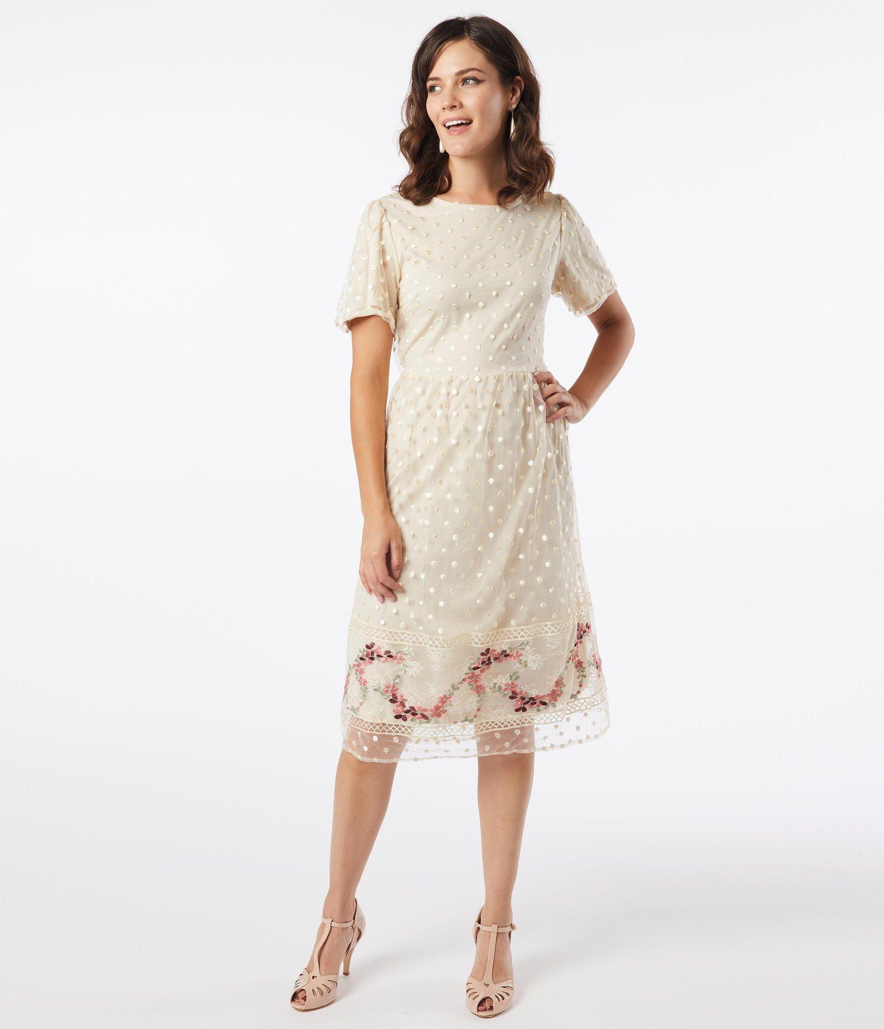 Vintage Style Cream Swiss Dot Midi Dress Unique Vintage Dresses Vintage Fashion Swiss Dot Dress [ 2048 x 1759 Pixel ]