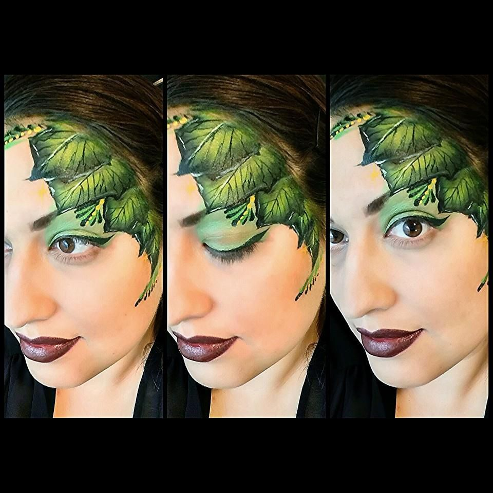 Funny face painting for kids creative art and craft ideas - Green Leaves Face Painting By Glitter Goose Leaf Autumn Fall Nature Paint