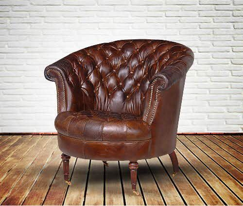 Buttoned Brown Leather Club Chair Furniture Pieces I