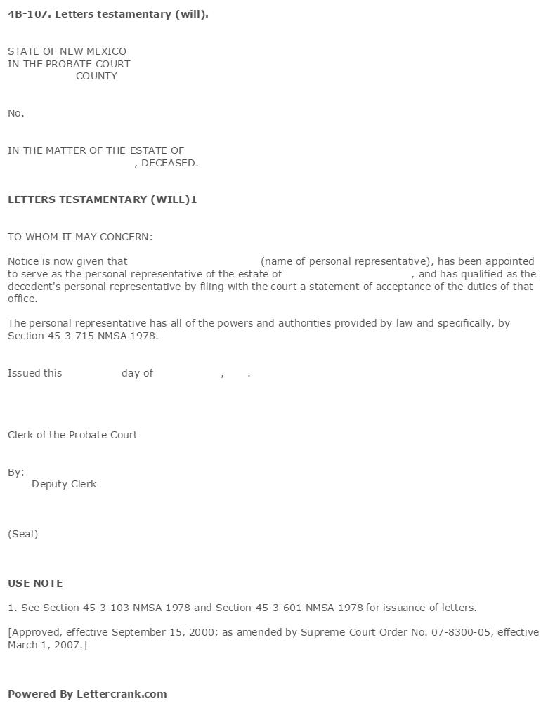 sample letters testamentary poemdoc or