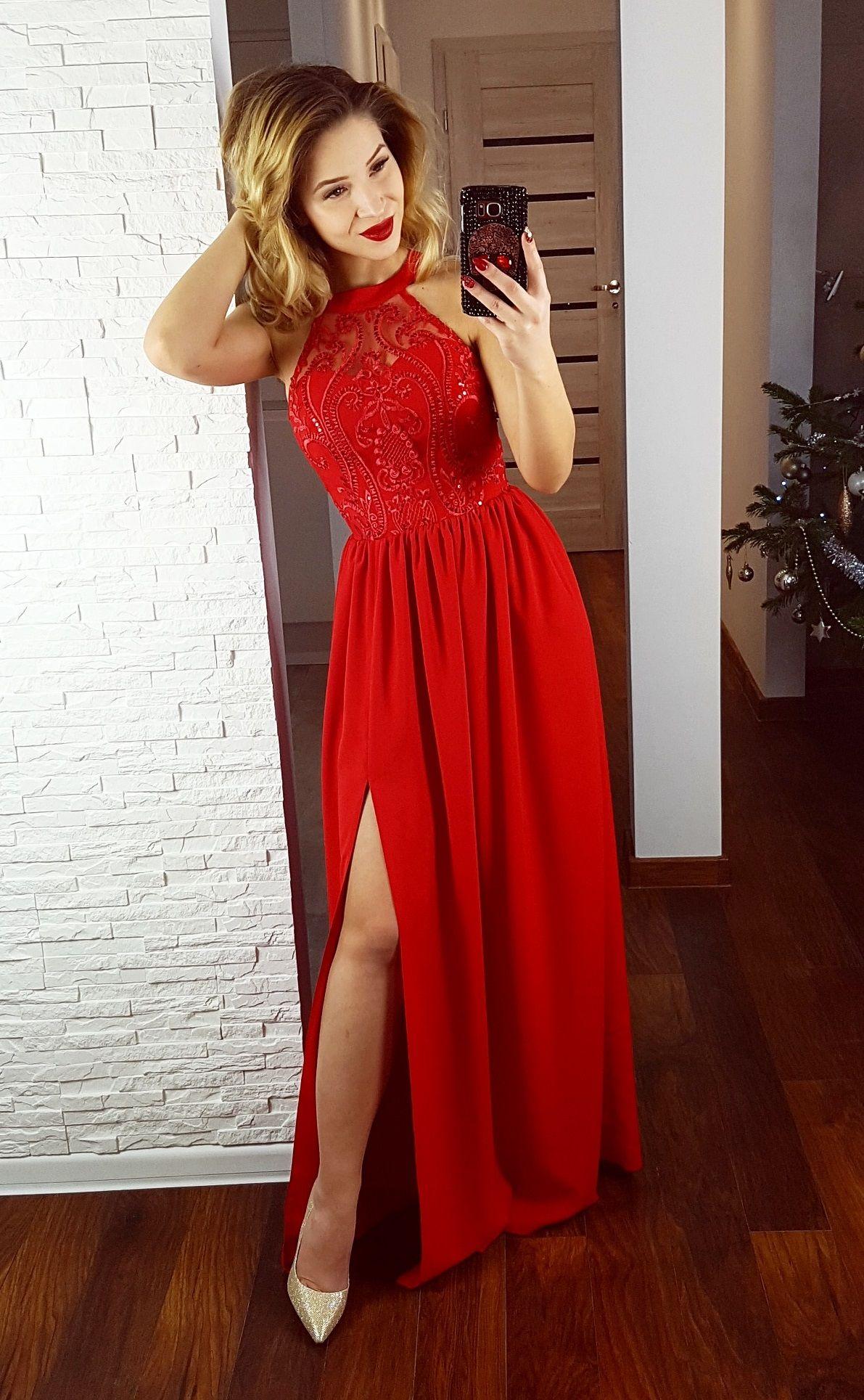138b3fa466 Długa czerwona suknia na studniówkę. Polska firma. Red dress. Made in  Poland 369 zł