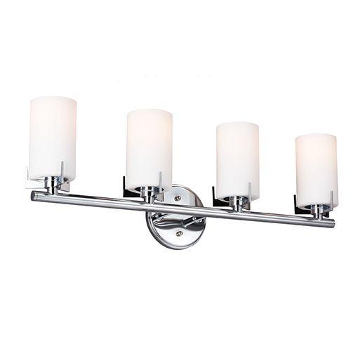 Kenton Chrome Four Light Wall Bath Vanity With Satin White Glass Vanity Lighting Strip Lighting Wall Ceiling Lights