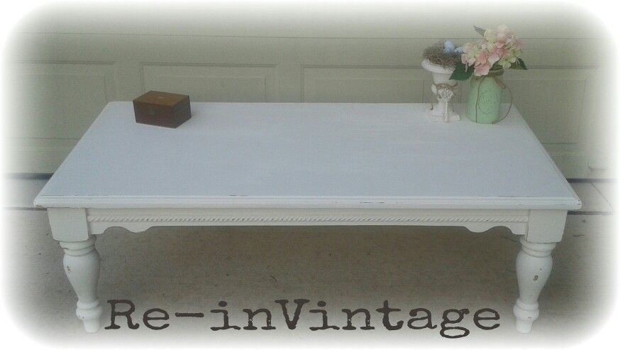 French country coffee table with a cottage style makeover. Painted in Cream Delight, distressed ...
