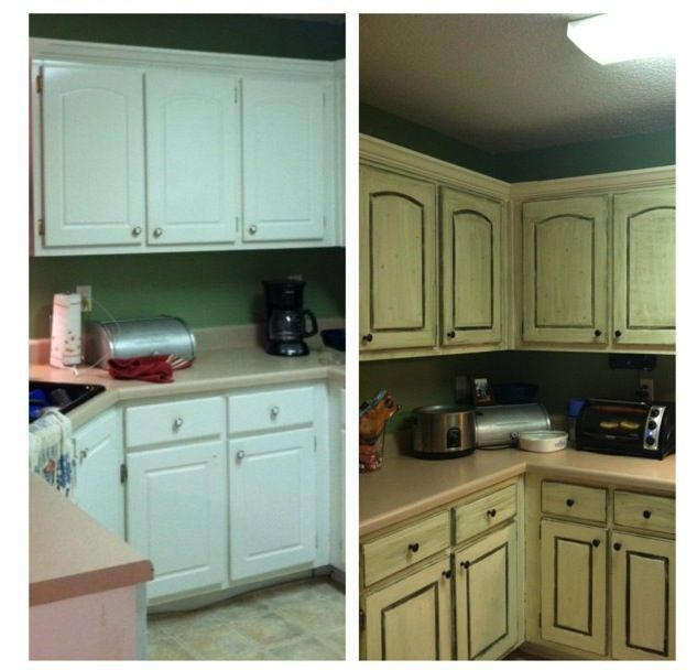 Distressed cabinets. Antiqued cabinets. DIY kitchen ...