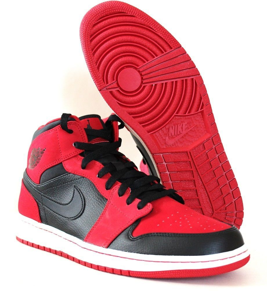 detailed look e99e4 3a90a Nike Men s Air Jordan 1 Mid Bred Basketball Shoes 554724 005 Black Red Size  12…