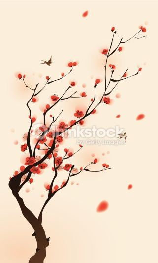 Growth Of Plum Blossom Vectorized Brush Painting Symbolize Growth Cherry Blossom Painting Cherry Blossom Art Cherry Blossom Drawing
