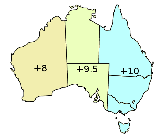 Australia Map Time Zones.Australia Time Zones Aest Acst Awst Nft And Cxt Australia Time