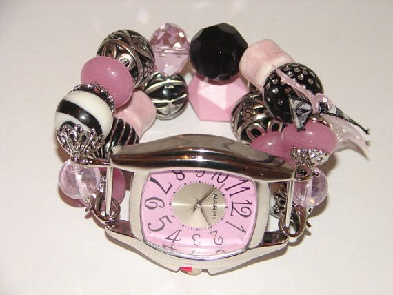 Shabby Chic Pink Black and White Beaded Watch Pink by BeadsnTime, $30.00