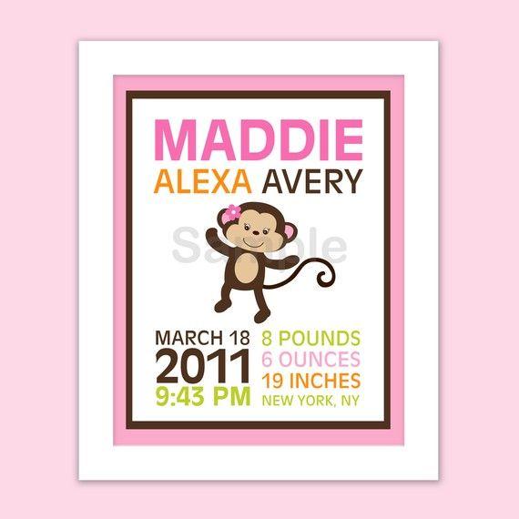 Girl Monkey Jungle Nursery Wall Art Birth by LittlePrintsParties, $8.00