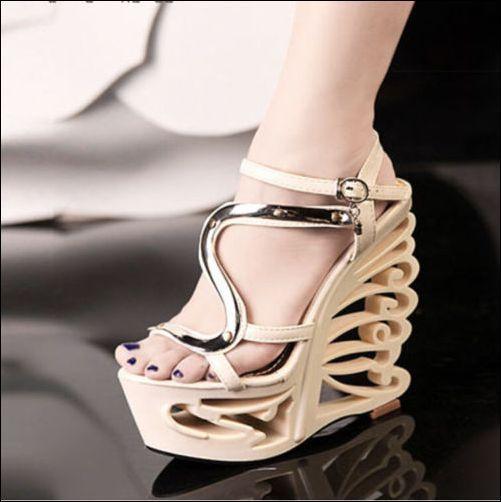 Womens  Hot Fashion Wedge Platform Irregular Heel Open Toe Party Shoes A58