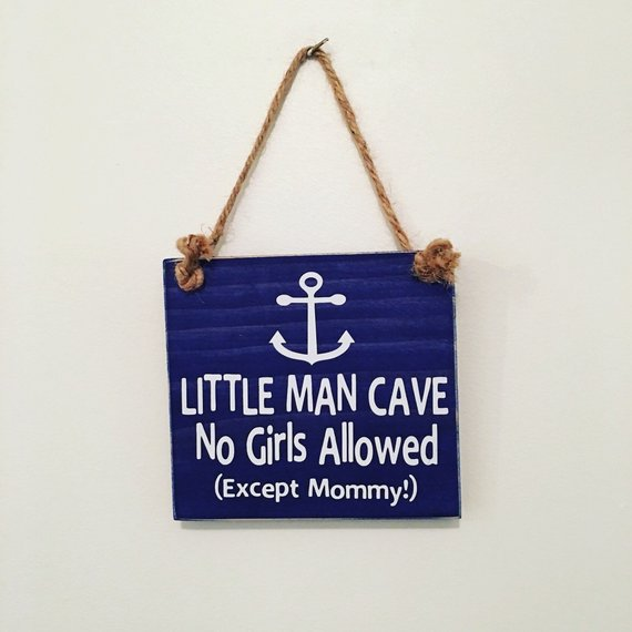 Photo of Little Man Cave No Girls Allowed (Except Mommy!) ™  – Anchor Nautical – Wooden Door Sign –  Hanger – Little Boys Room – Nursery