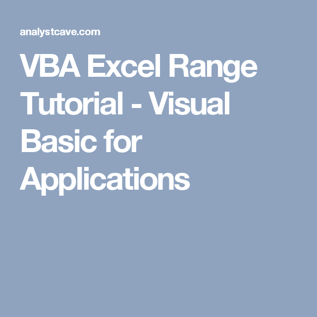 microsoft excel visual basic tutorial pdf