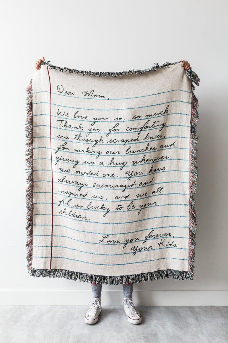 Liebe Brief Decke: personalisierte Muttertagsgeschenk, gewebt werfen für Mama, Papa, Großeltern, Hochzeit oder Jahrestag Geschenk, 100 % Baumwolle