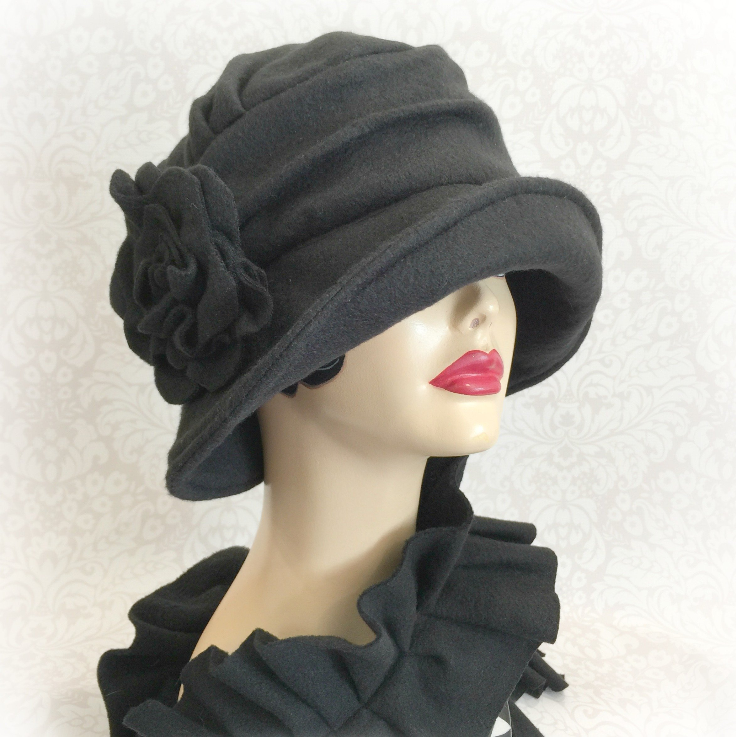 a7e51261159ed Flapper Fabulous Winter Cloche - Black Fleece Alice- 1920s Style