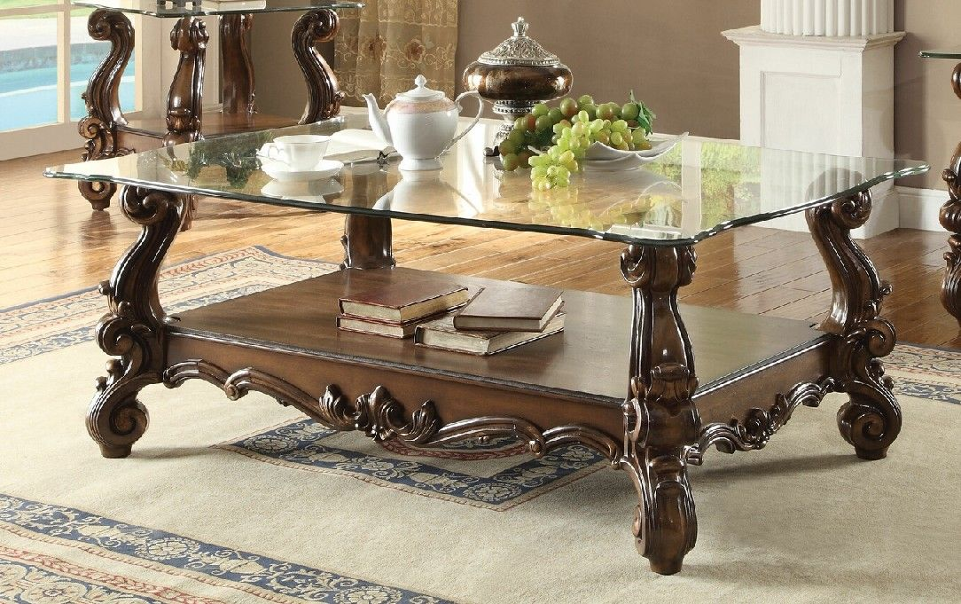 Acme 82100 Versailles cherry oak finish wood carved accents glass top coffee table | Coffee ...