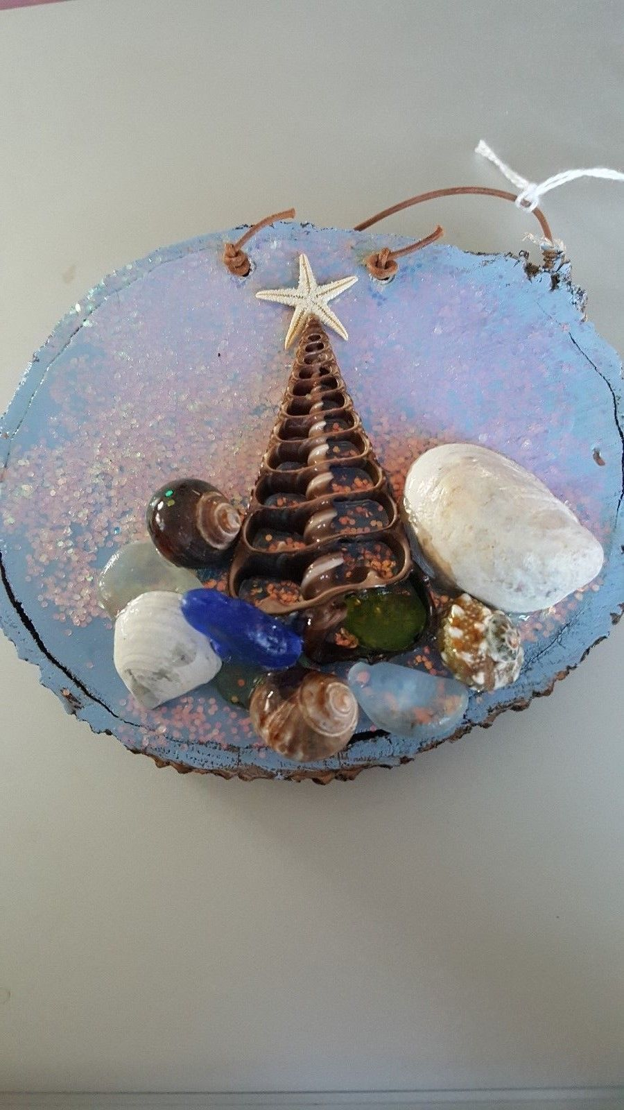 Wood slice sea shell beach christmas tree
