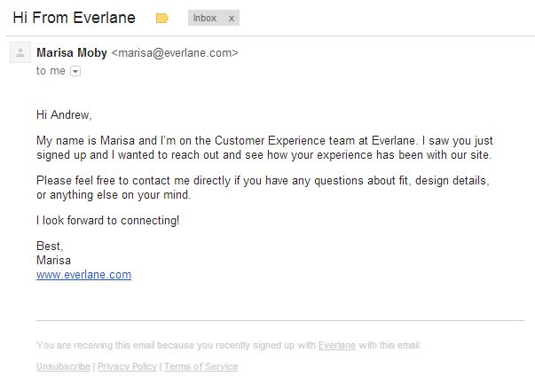 Everlane follow-up Creative Emails Pinterest - follow up email