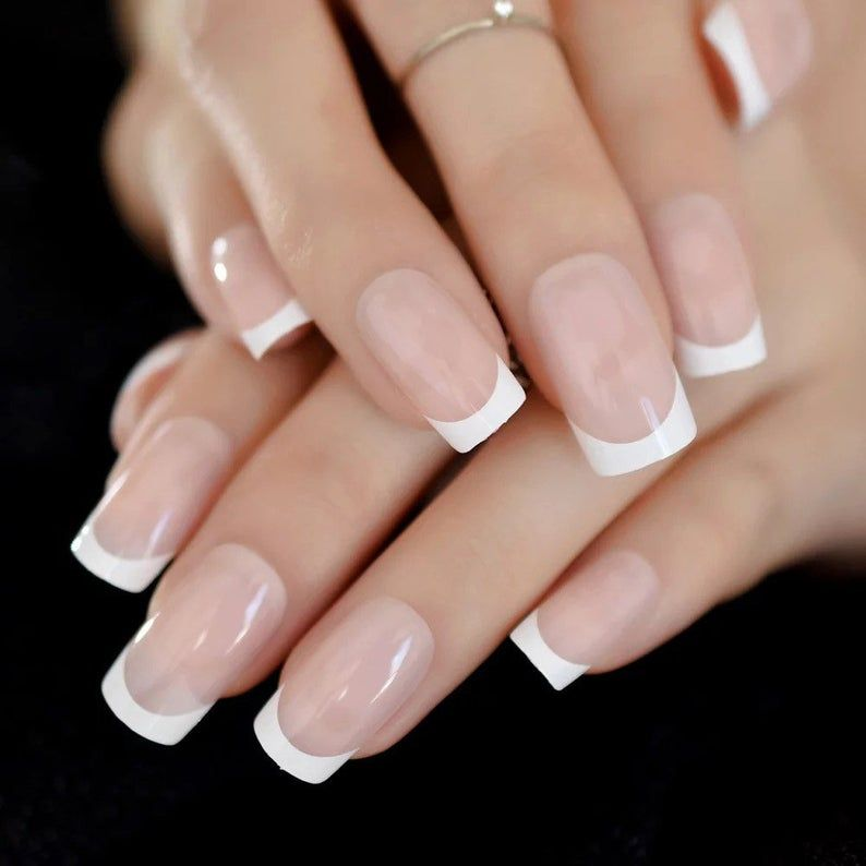 Classic French Tip Medium Square Press On Nails False Fake 24 Etsy In 2020 Fake Nails French French Tip Acrylic Nails White Tip Acrylic Nails