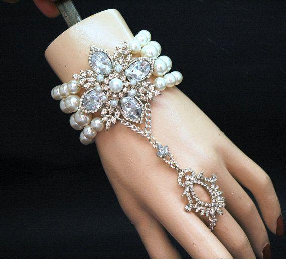 dec00faff Gatsby Bracelet, Pearl Slave Bracelet,Crystal Bridal Bracelet,1920's ...