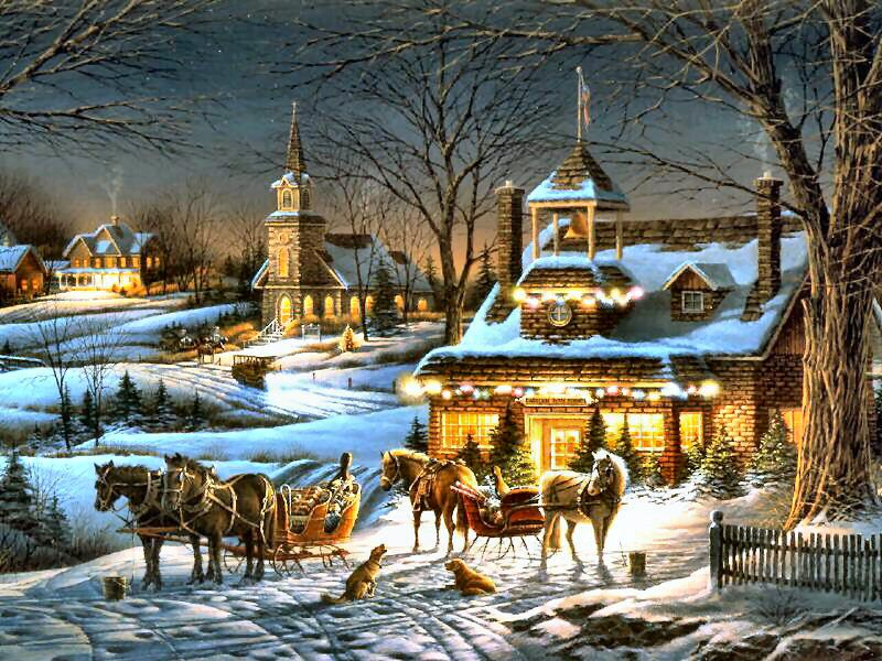 Evening Rehearsals by Terry Redlin ~ winter ~ church ~ horse-drawn ...