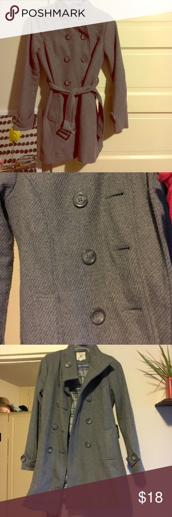 Forever 21 Grey Peacoat Grey Forever 21 peacoat. Worn bunch of times and it is extremely comfy. Can be tied around the waist or belted. Buttons the entire way up. Forever 21 Jackets & Coats Pea Coats