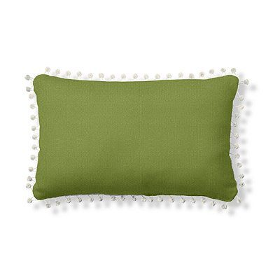 """Outdoor Lumbar Pillow With Pom Poms - Timeless Ikat Celadon, Ivory, 16"""" X 24"""" - Frontgate"""